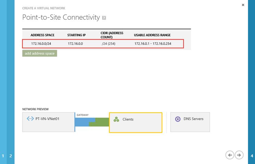 Ilustración 4 – Creación de una red virtual en Microsoft Azure. Selección de Espacio de Direcciones para la conectividad VPN Point-To-Site.