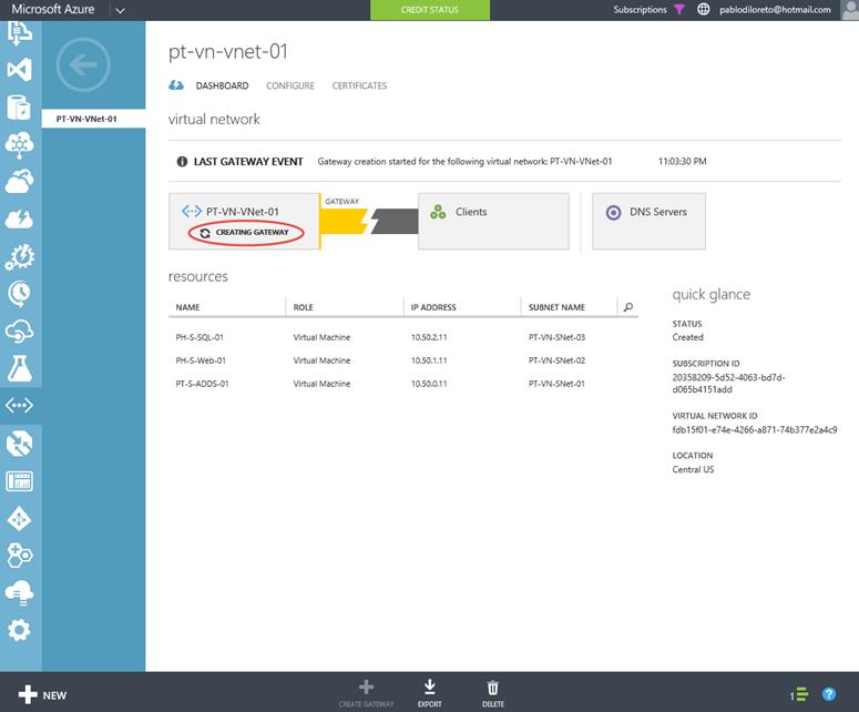 Ilustración 8 – Creación de una red virtual en Microsoft Azure. Creación de la Puerta de Enlace de Enrutamiento Dinámico para la VPN Point-To-Site.