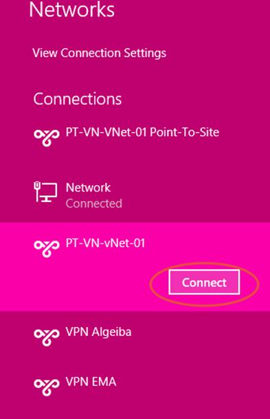 Ilustración 14 – Marcado VPN Point-To-Site hacia Microsoft Azure.