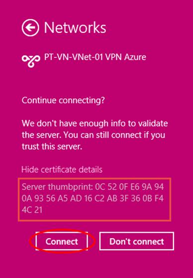 Ilustración 16 – Marcado VPN Point-To-Site hacia Microsoft Azure.