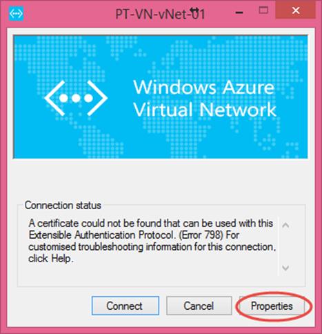 Ilustración 6 – Propiedades del cliente VPN de Azure para poder visualizar la dirección FQDN del dispositivo al que debemos marcar la VPN manual.