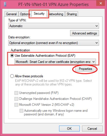 Ilustración 9 – Asistente para creación manual de marcado VPN Point-To-Site hacia Microsoft Azure.