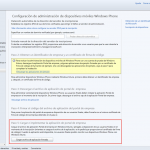 Ilustración 12 – Configuración de Dispositivos Windows Phone para administrarlos a través de Windows Intune. Publicación de aplicación firmada de ejemplo.