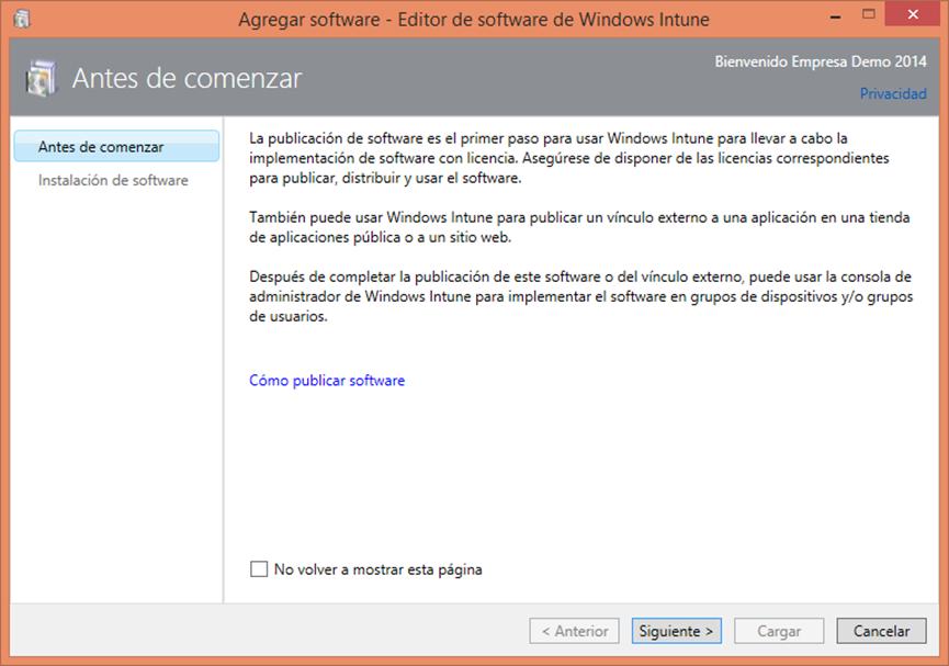 Ilustración 16 – Configuración de Dispositivos Windows Phone para administrarlos a través de Windows Intune. Publicación de aplicación firmada de ejemplo.