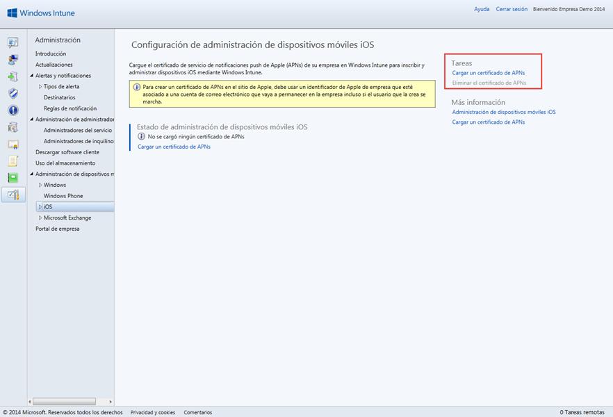 Ilustración 22 – Configuración de Dispositivos iOS para administrarlos a través de Windows Intune. Generación de Requerimiento de Certificado.
