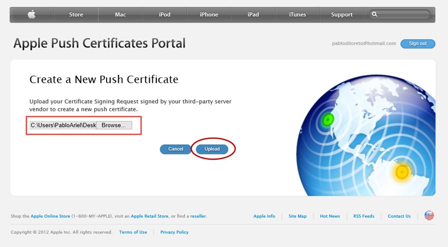 """Ilustración 29 – Configuración de Dispositivos iOS para administrarlos a través de Windows Intune. Generación de Certificado Digital en el Portal de """"Apple Push Certificate""""."""