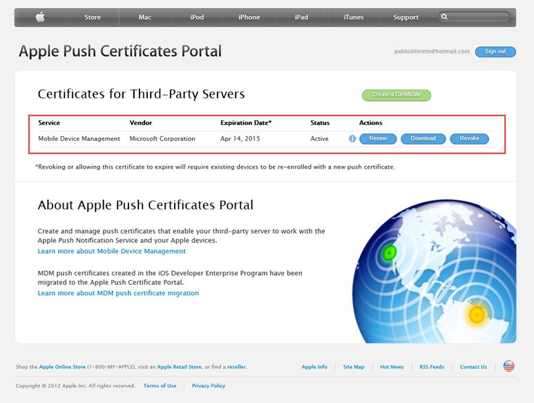 """Ilustración 30 – Configuración de Dispositivos iOS para administrarlos a través de Windows Intune. Generación de Certificado Digital en el Portal de """"Apple Push Certificate""""."""