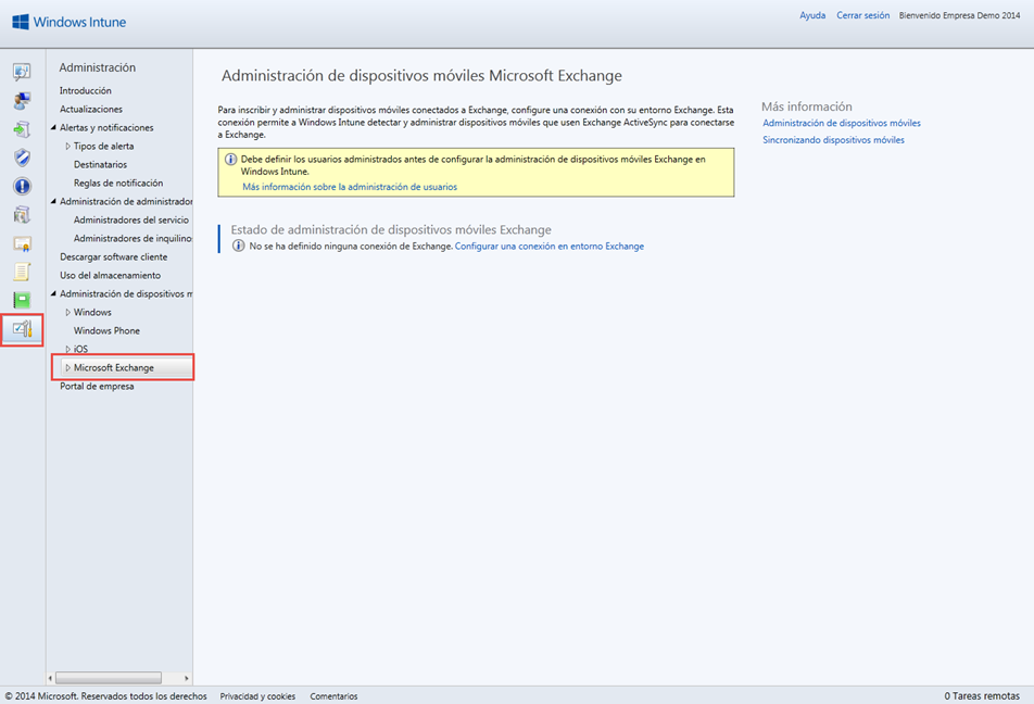 Ilustración 34 – Configuración de Microsoft Exchange para que cuentas de correo electrónico agregadas a dispositivos sean detectados por Windows Intune.