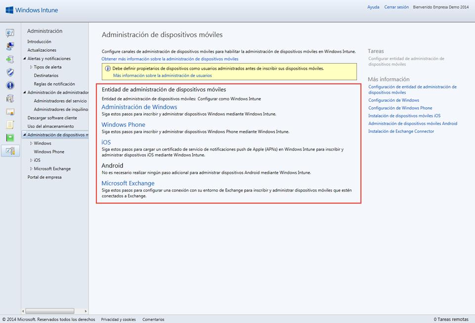 Ilustración 5 – Configuración de la Administración de Dispositivos Móviles en la Consola de Administración de Windows Intune: desbloqueo de configuración de dispositivos.