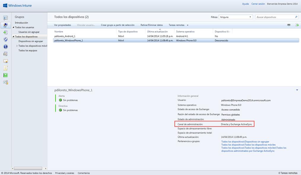Ilustración 14 – Agregado de cuenta de Windows Intune para Administración Directa en un Windows Phone. Visibilidad en la Consola de Administración de Windows Intune como Administración Directa.