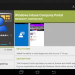 Ilustración 16 – Agregado de cuenta de Windows Intune para Administración Directa en un dispositivo Android. Instalación de la aplicación Windows Intune.
