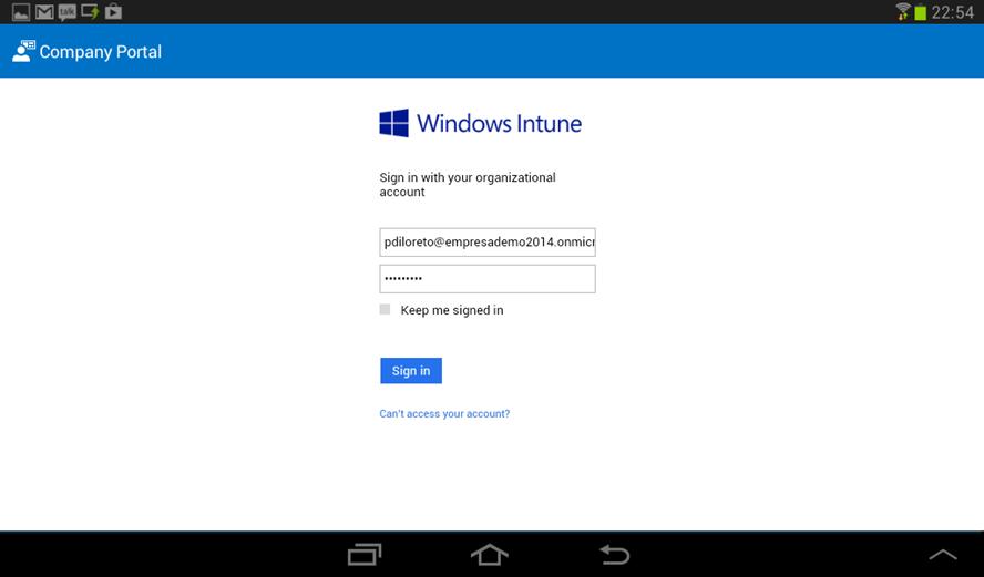 Ilustración 18 – Agregado de cuenta de Windows Intune para Administración Directa en un dispositivo Android. Configuración.