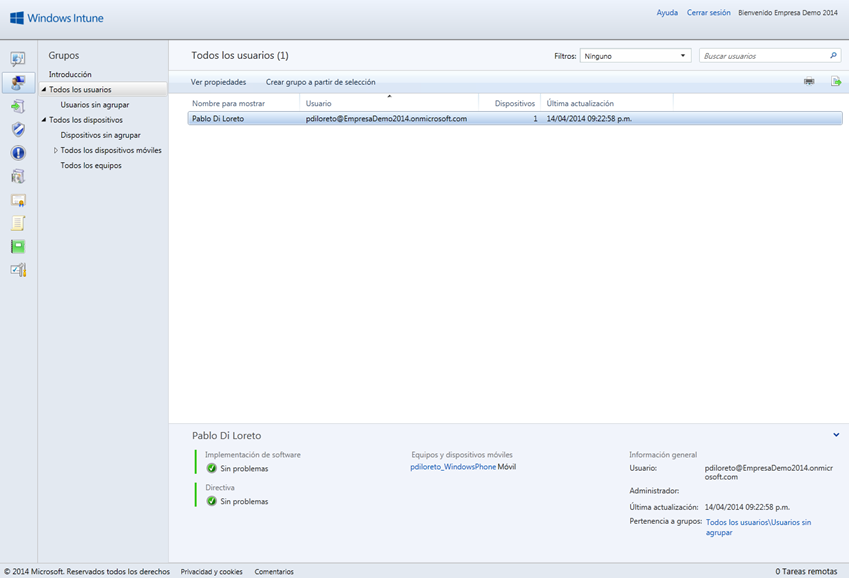 Ilustración 2 – Agregado de Cuenta de Exchange en un dispositivo Windows Phone a través de ActiveSync. Visibilidad de la cuenta en Windows Intune.