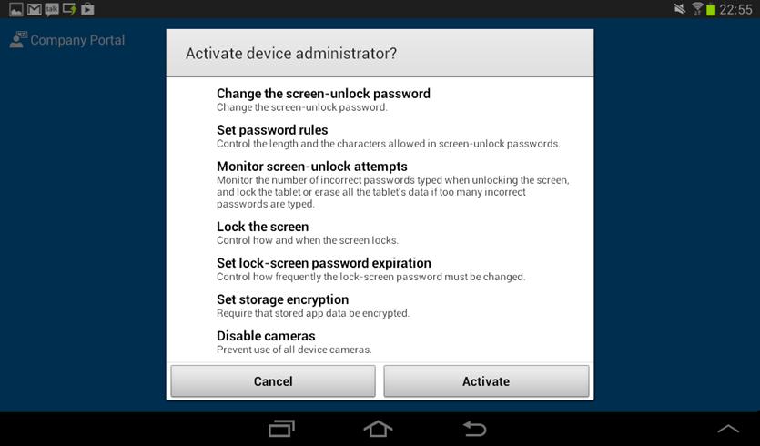 Ilustración 20 – Agregado de cuenta de Windows Intune para Administración Directa en un dispositivo Android. Configuración.