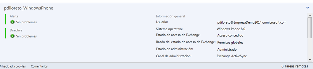 Ilustración 5 – Agregado de Cuenta de Exchange en un dispositivo Windows Phone a través de ActiveSync. Visibilidad de la cuenta en Windows Intune como Administración Indirecta.