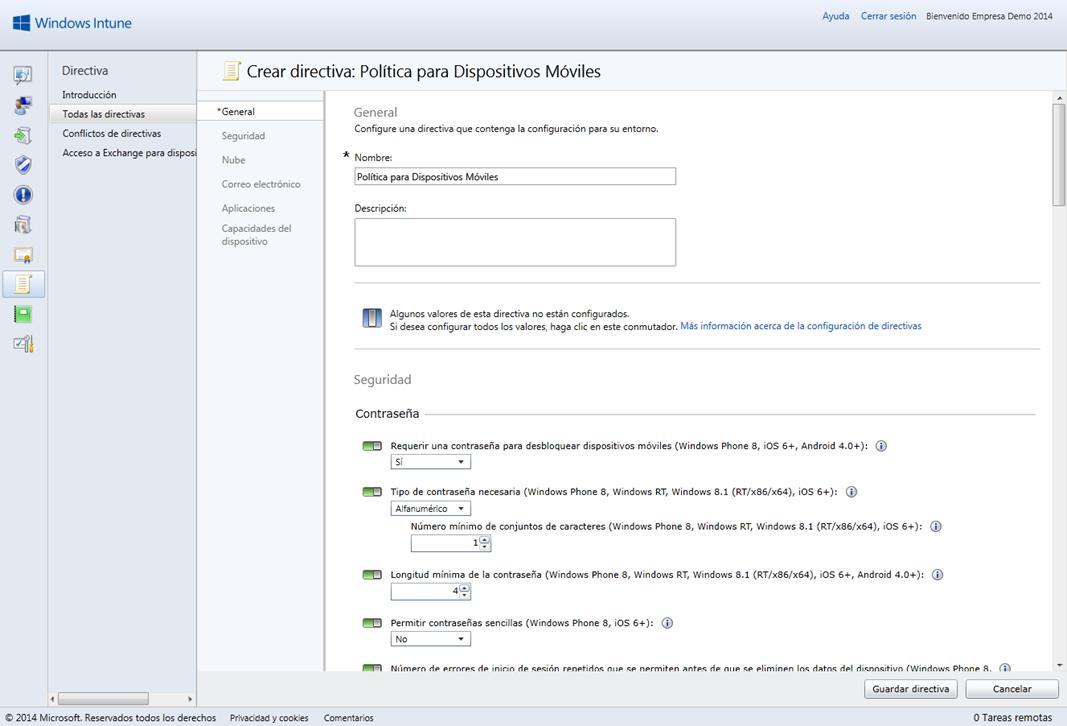 Ilustración 4 – Configuración de Directivas para Dispositivos desde Windows Intune.