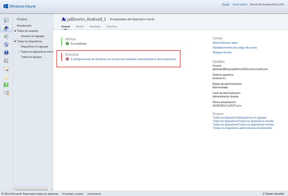 Ilustración 7 – Configuración de Directivas para Dispositivos desde Windows Intune.