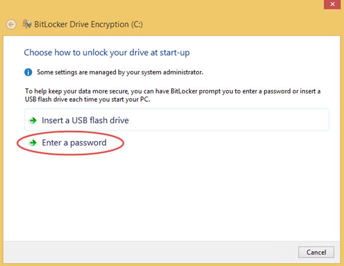 Ilustración 5 – Habilitación de BitLocker en Windows 8.1 Professional. Elección de método de desbloqueo de sistema.