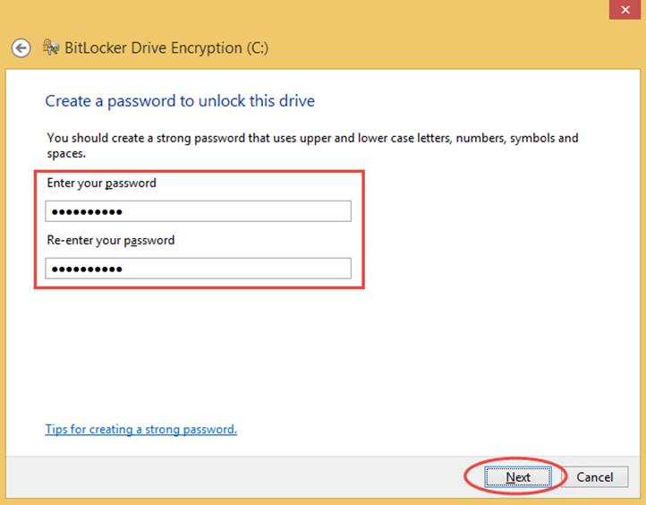 Ilustración 6 – Habilitación de BitLocker en Windows 8.1 Professional. Ingreso de contraseña para iniciar el sistema operativo.