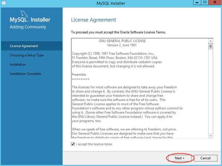 Ilustración 1 – Instalación de MySQL Server 5 en Windows Server | Aceptación de Acuerdo.