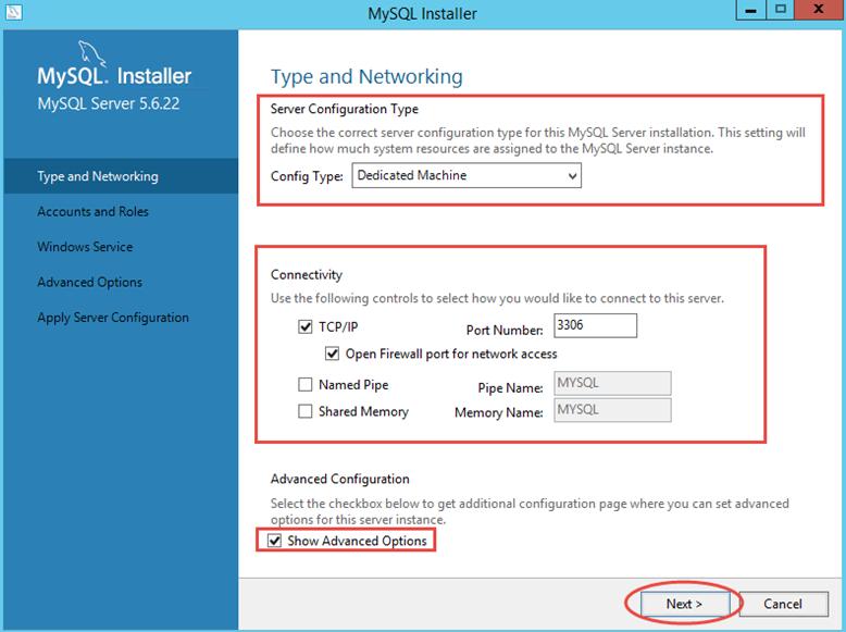 Ilustración 11 – Configuración de MySQL Server 5 en Windows Server | Tipo de configuración y Conectividad.