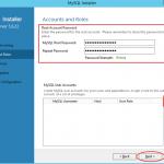 Ilustración 12 – Configuración de MySQL Server 5 en Windows Server | Configuración de contraseña root y otros usuarios.