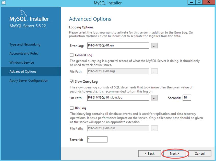 Ilustración 14 – Configuración de MySQL Server 5 en Windows Server | Opciones avanzadas de configuración.