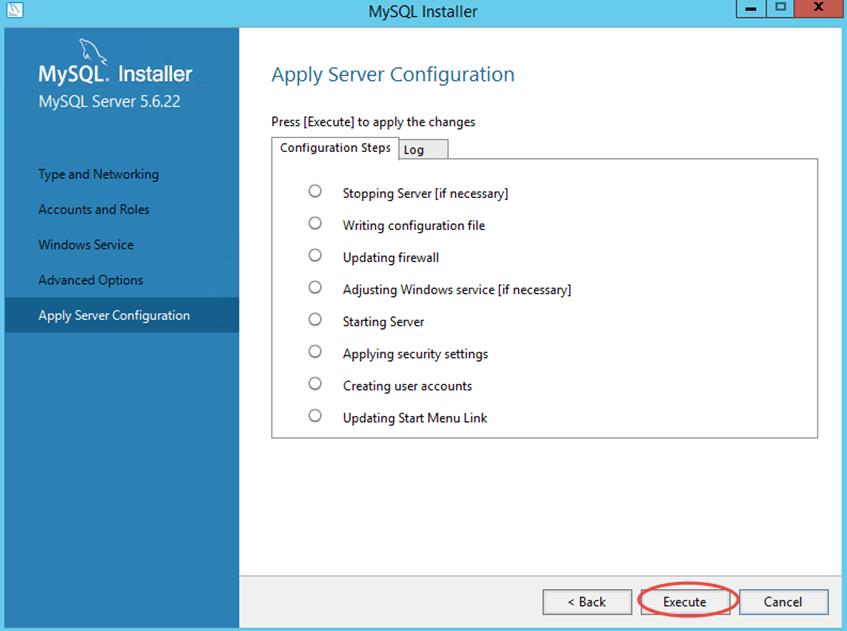 Ilustración 15 – Configuración de MySQL Server 5 en Windows Server | Ejecución de configuración seleccionada durante la instalación.