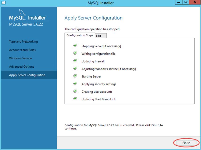 Ilustración 16 – Configuración de MySQL Server 5 en Windows Server | Ejecución de configuración seleccionada durante la instalación.