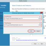 Ilustración 5 – Instalación de MySQL Server 5 en Windows Server | Personalización de la ubicación de archivos.