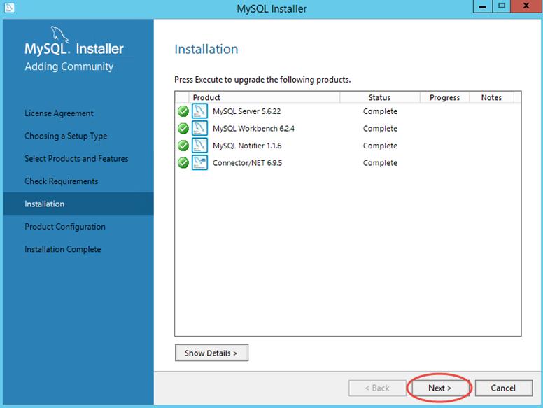 Ilustración 9 – Instalación de MySQL Server 5 en Windows Server | Finalización de instalación base.