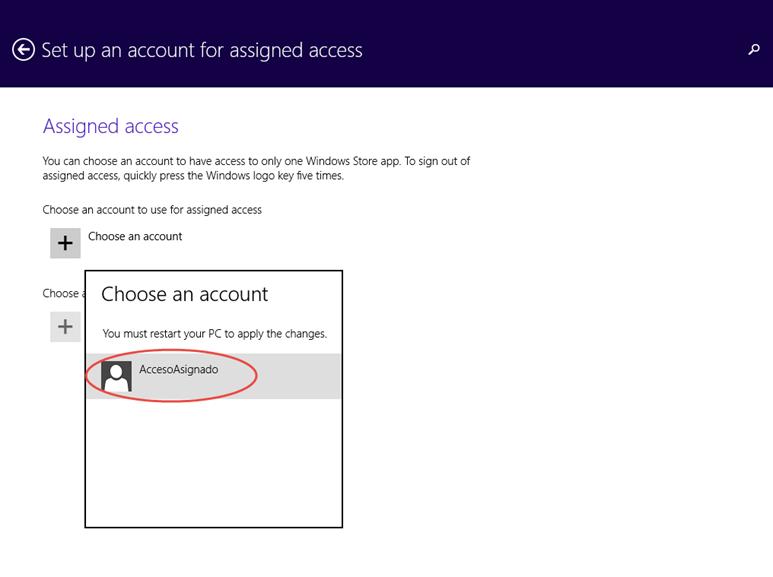 Ilustración 11 – Configuración de Acceso Asignado (Kiosk Mode) en Windows 8.1 | Configuración del Acceso Asignado para el Usuario Local.