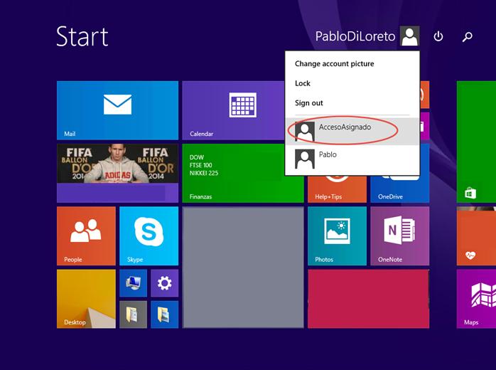 "Ilustración 14 – Configuración de Acceso Asignado (Kiosk Mode) en Windows 8.1 | Primer inicio de sesión para el usuario local que tendrá ""Acceso Asignado""."