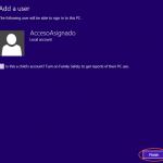 Ilustración 8 – Configuración de Acceso Asignado (Kiosk Mode) en Windows 8.1 | Creación del Usuario Local.