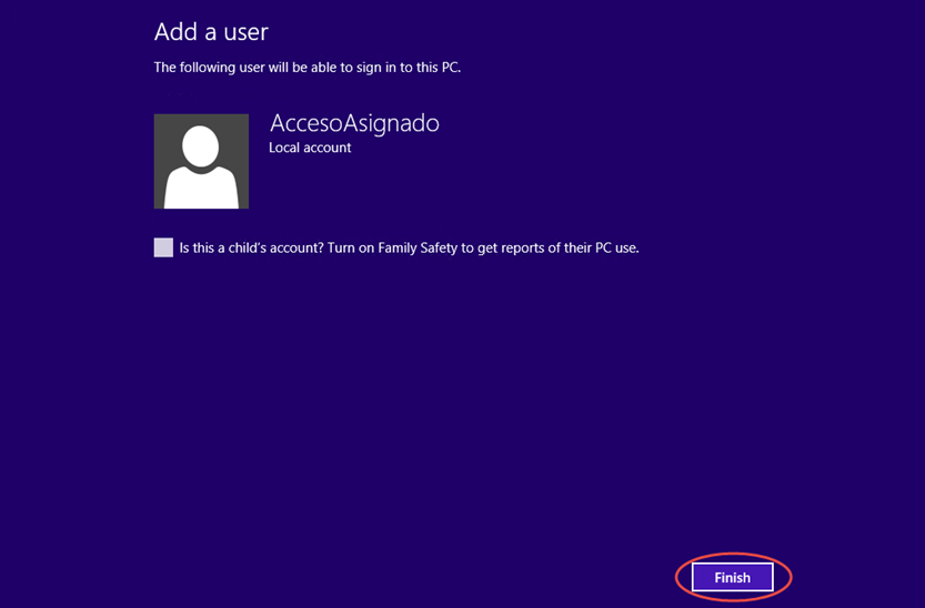 Ilustración 8 – Configuración de Acceso Asignado (Kiosk Mode) en Windows 8.1 | Creación del Usuario Local.