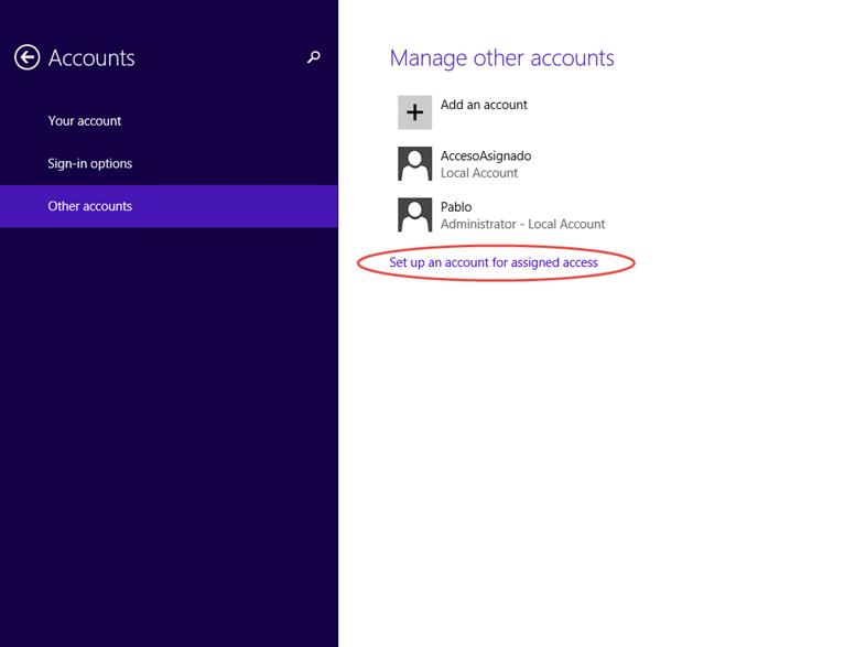 Ilustración 9 – Configuración de Acceso Asignado (Kiosk Mode) en Windows 8.1 | Configuración del Acceso Asignado para el Usuario Local.