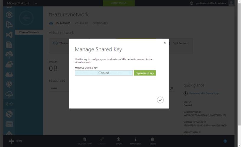 Ilustración 11 – Configuración de Red en Azure. Administración de Secreto: obtención de clave.