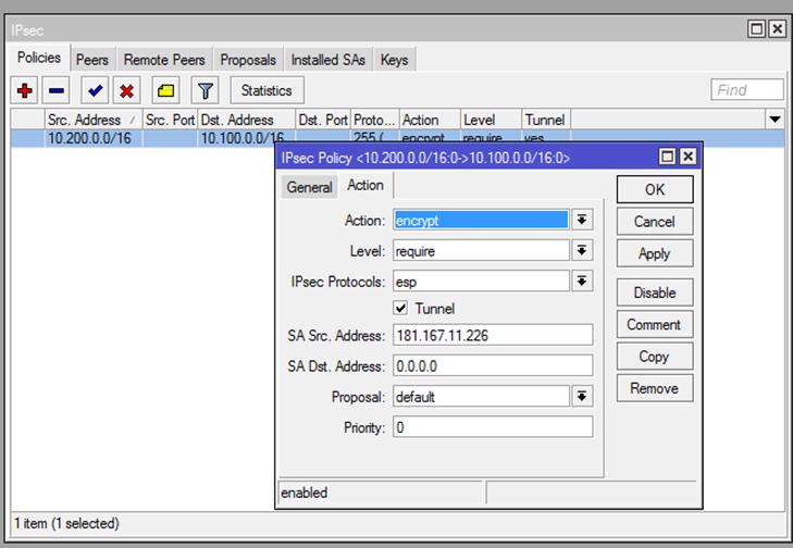 Ilustración 17 – Configuración de EndPoint On-Premise. Configuración de Mikrotik: Parámetros IPSec.