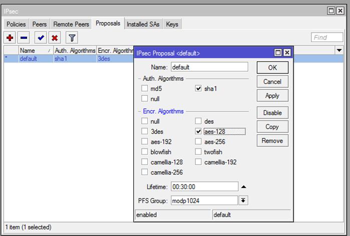 Ilustración 19 – Configuración de EndPoint On-Premise. Configuración de Mikrotik: Parámetros IPSec.