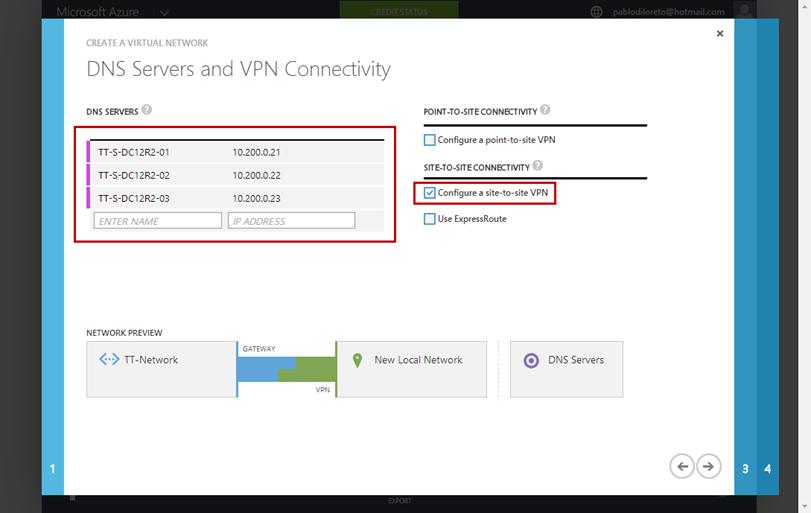 Ilustración 3 – Creación de Red en Azure. Asistente de Creación: selección de servidores DNS y Conectividad VPN.