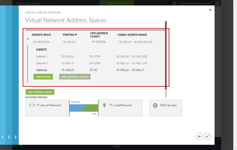 Ilustración 5 – Creación de Red en Azure. Asistente de Creación: Configuración de Espacio de Direcciones de Red en Azure.