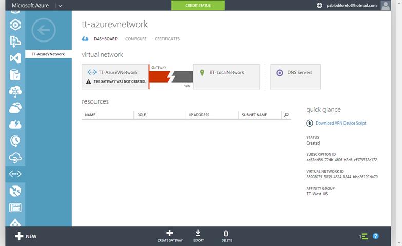 Ilustración 7 – Configuración de Red en Azure. Creación de Gateway: vista de la red desde el Panel de Control.