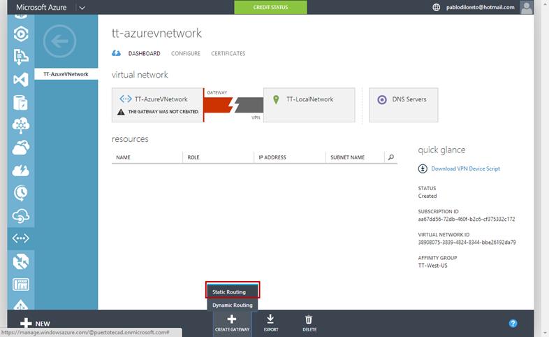 Ilustración 8 – Configuración de Red en Azure. Creación de Gateway: creación de Gateway con Ruteo Estático.