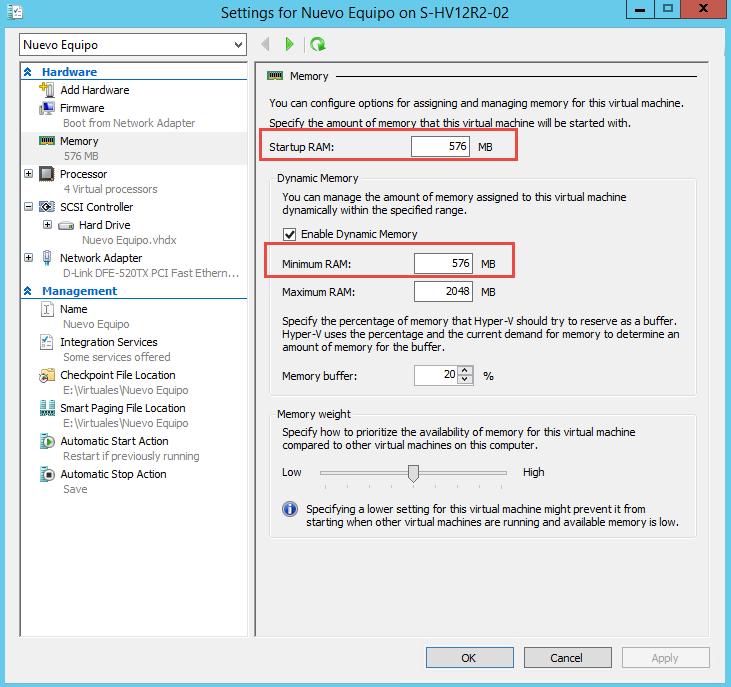 Imagen 2 - Configuración al instalar Windows Server 2012 R2