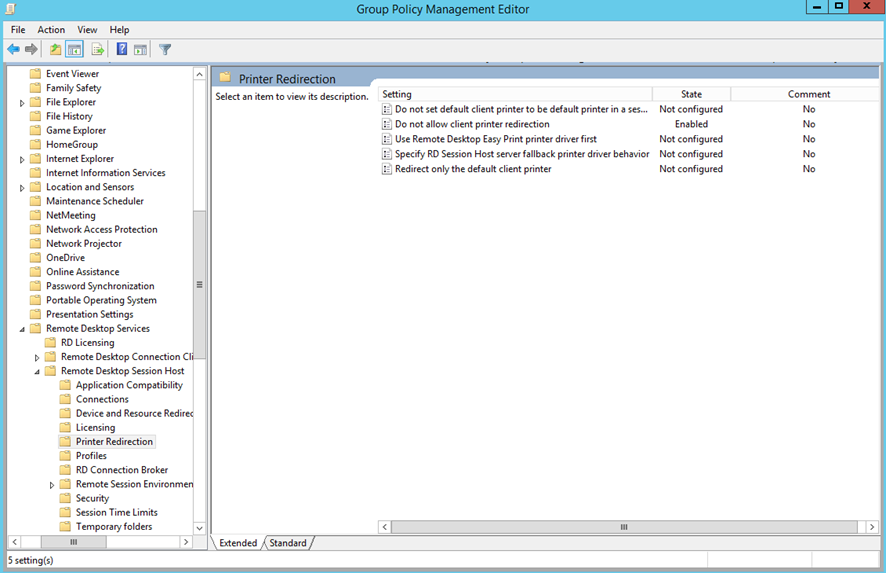 Ilustración 2 Opciones de Printer Redirection para Remote Desktop Services Session Host en Windows Server 2012 R2.