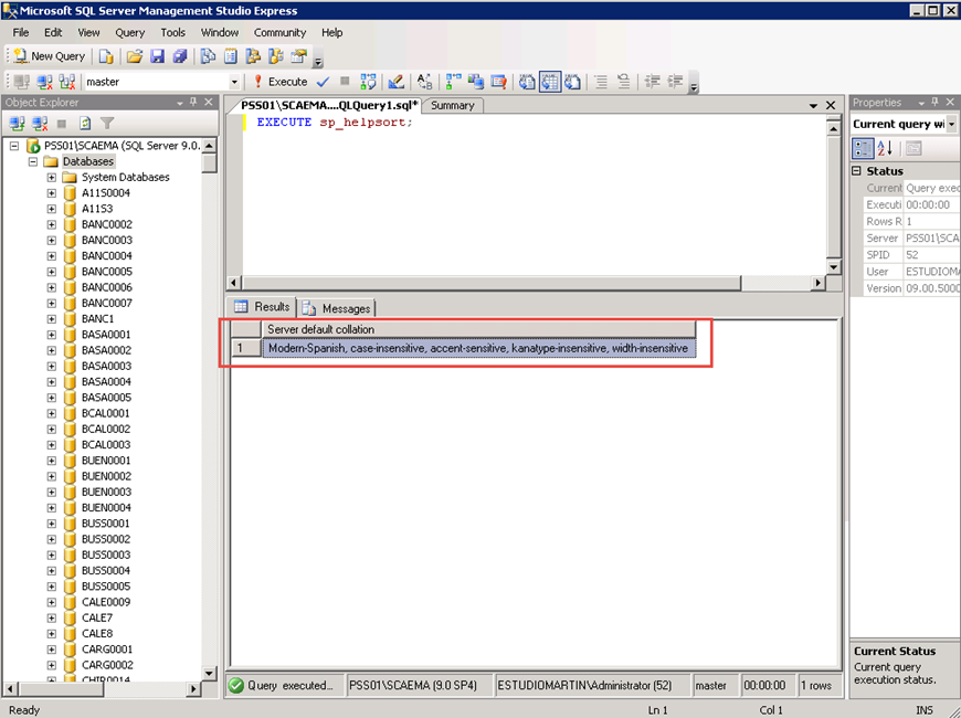Ilustración 2 – Identificación de Collation utilizando el SP EXECUTE sp_helpsort;