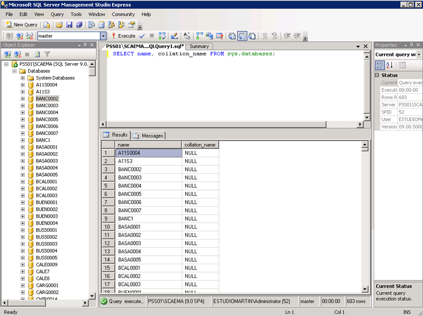 Ilustración 4 – Listado de Collations de todas las bases de datos de la Instancia de SQL Server utilizando el script SELECT name, collation_name FROM sys.databases;