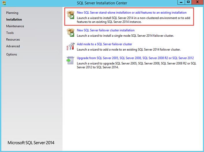 Ilustración 1 – Instalación de SQL Server | Elección de tipo de instalación.