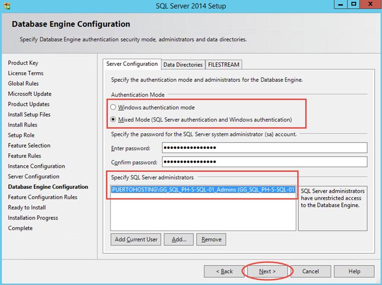 Ilustración 12 – Instalación de SQL Server | Configuración de modo de autenticación para la instancia SQL Server.
