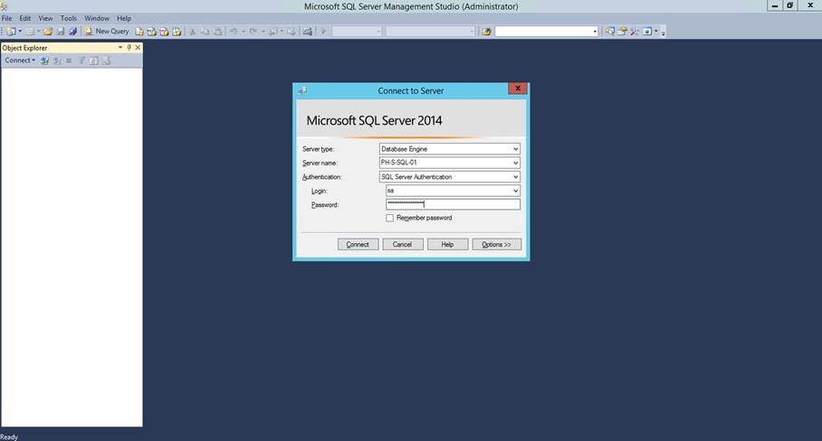 Ilustración 16 – Instalación de SQL Server | Inicio de Sesión en SQL Management Studio.